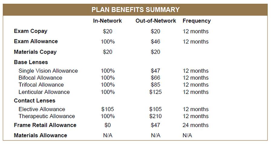 Vision Insurance   Benefit Overview